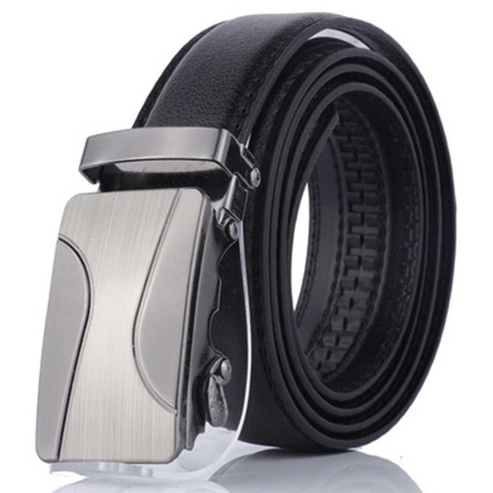 Men's Leather Automatic Buckle Belt Fashion Adjustable Dress Belt
