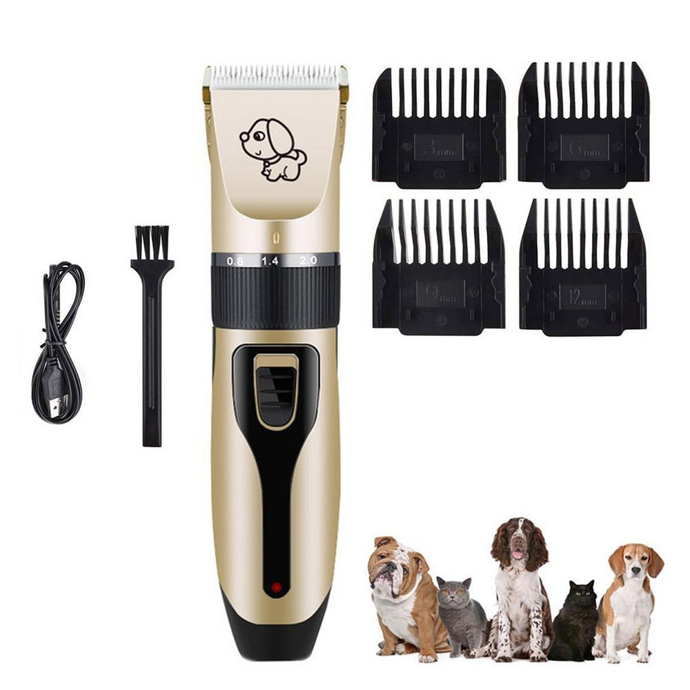 USB Rechargeable Electric Dog Clipper Comb Set Pet Dog Hair Trimmer Blade Pet Hair Shaver