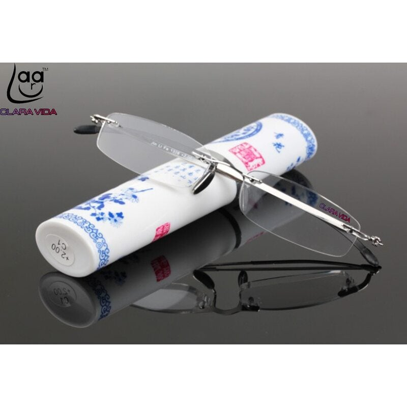 Rimless Ultra-Light HD Men Women Reading Glasses With Chinese Style Porcelain Case +1.0 +1.5 +2.0 +2.5 +3 +3.5 +4