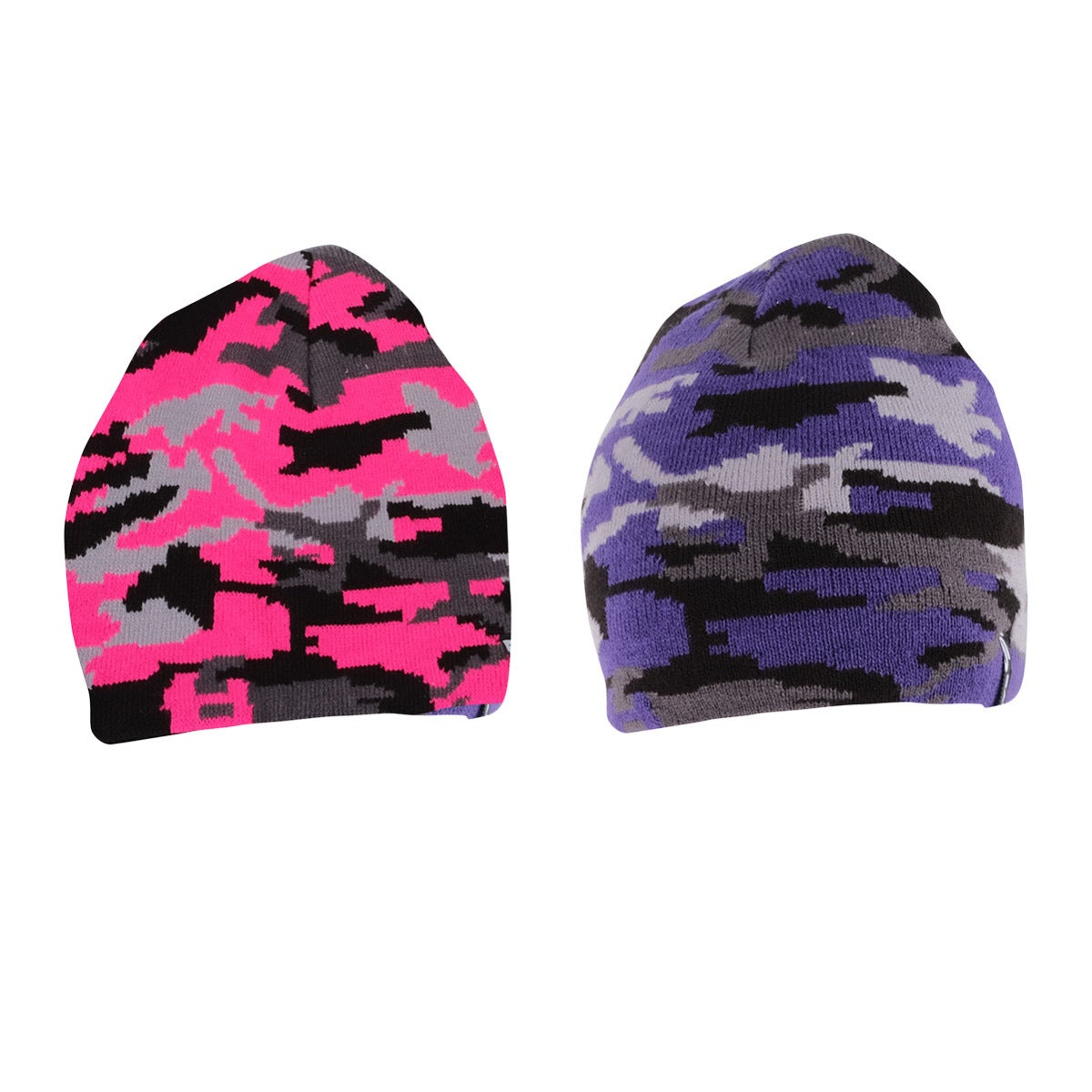 2PK Beanies Women's Thermal Knitted Camouflage Design Warm Soft 2 Colours