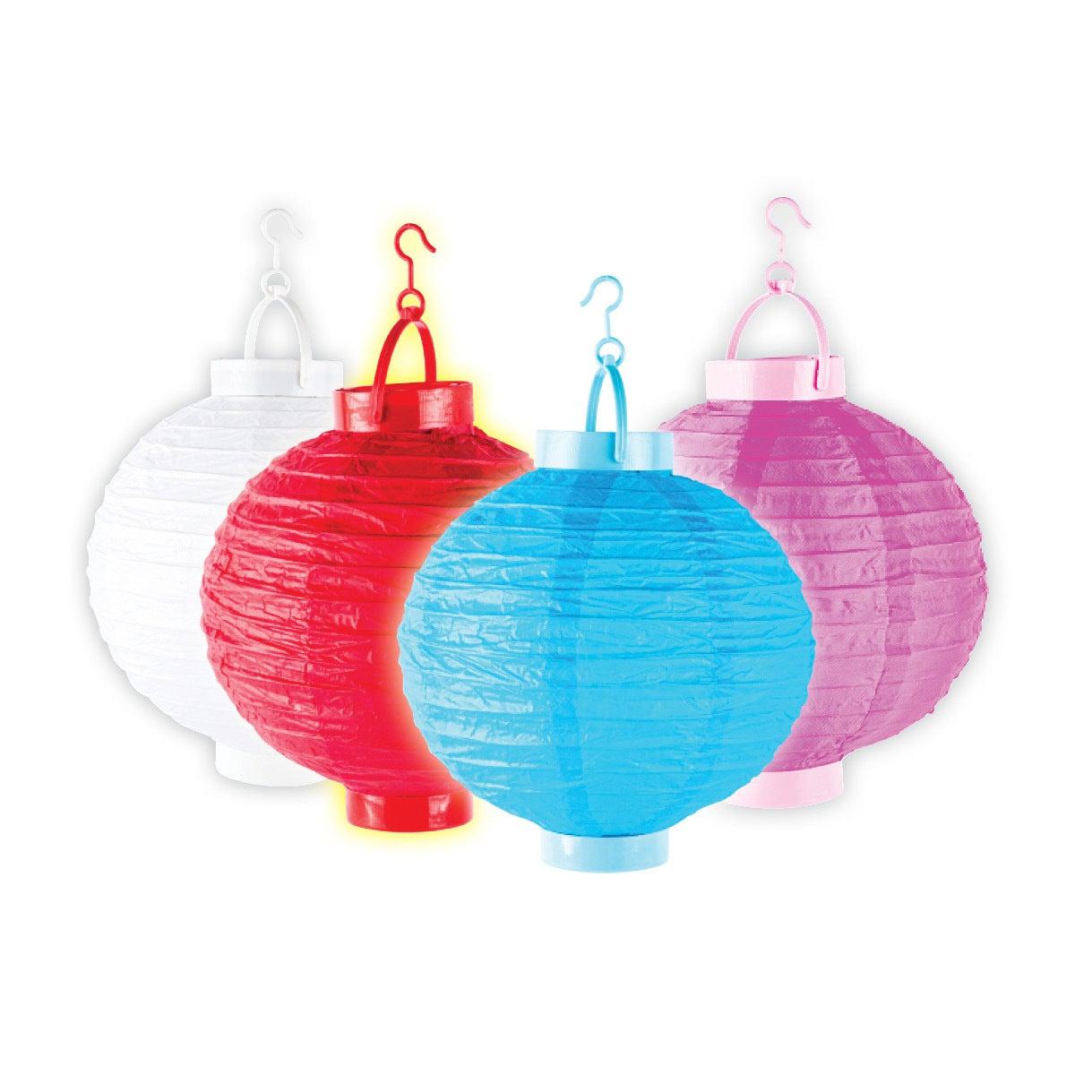 4PCE Paper Lanterns Light Up LED Celebrations Indoor Outdoor Reusable 20cm
