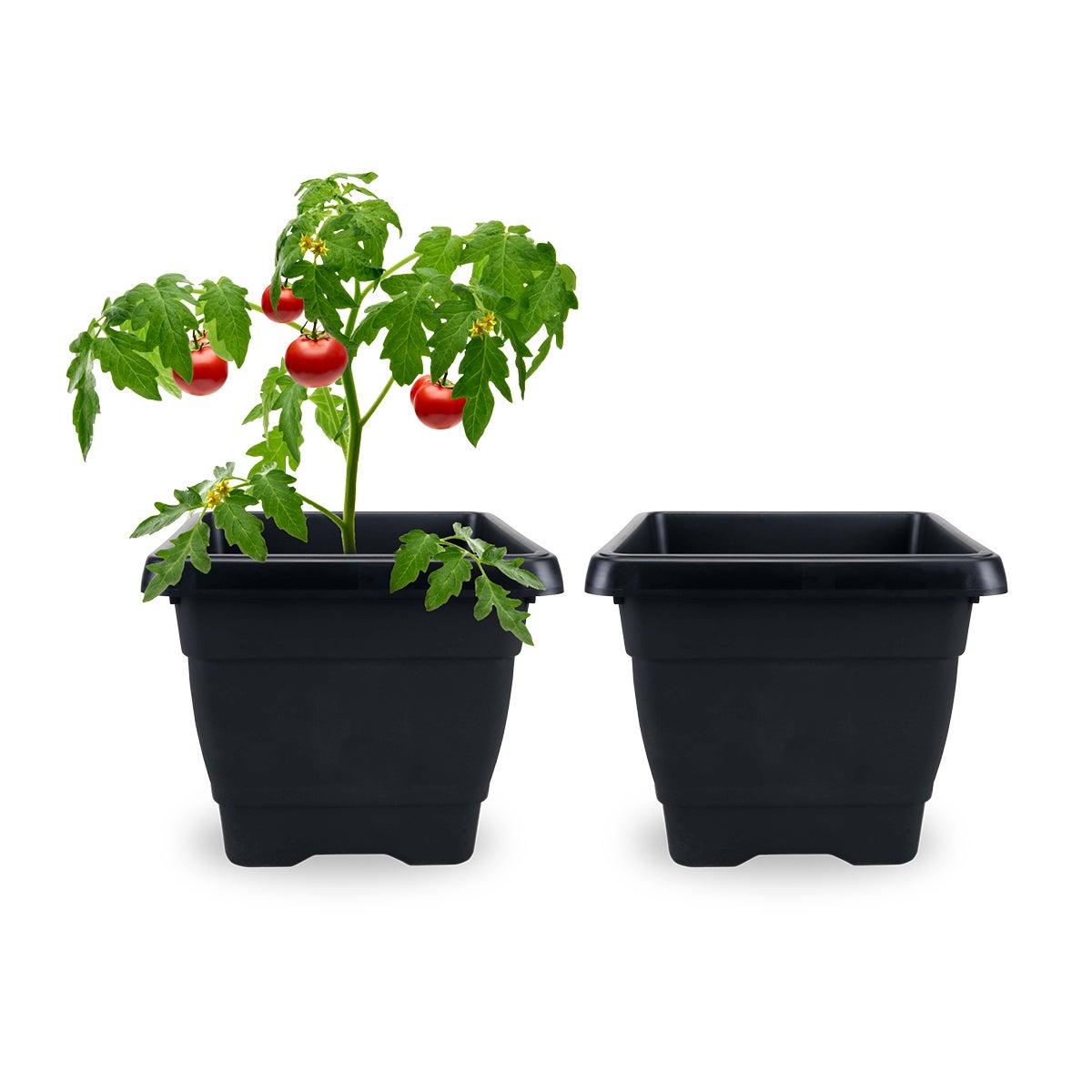Garden Greens® 2PCE Planter Pots Square Durable Drainage Holes 28cm
