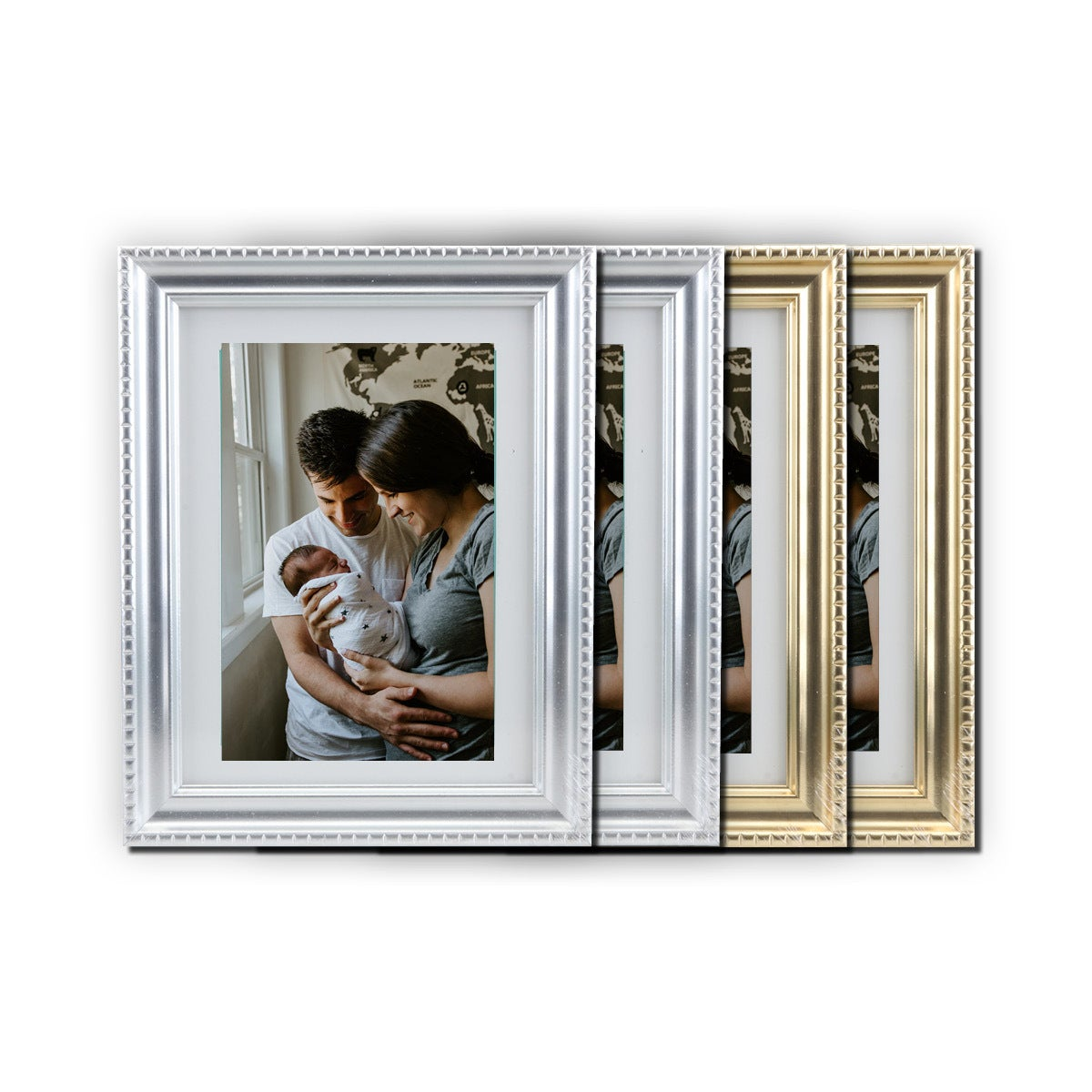 Home Master® 4PCE Photo Frames Metallic Design Gold Or Silver Stylish 6' x 8'