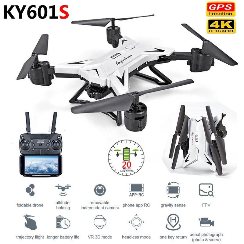 2020 New Foldable 4k/1080P HD WiFi Dual Camera Drone With Wide Angle Camera KY601S