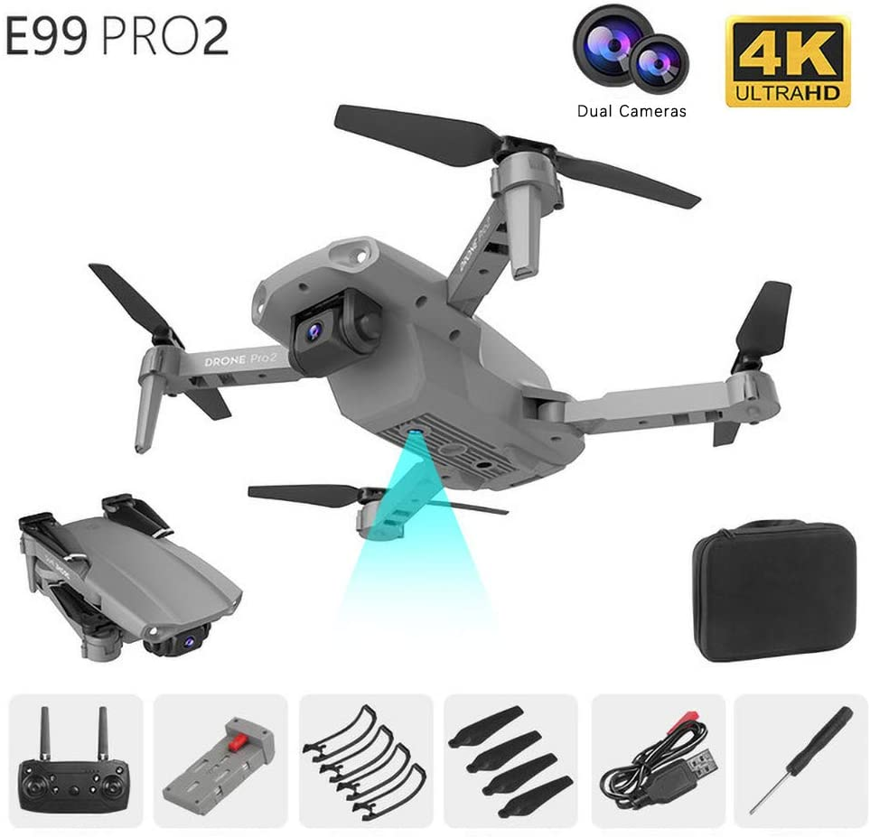 E99 Pro 2 Mini Folding Drone with 4k 50x Zoom HD Dual Camera, Intelligent Control, One-Key Take-Off/Landing and Return, Altitude Hold, Gesture Shooting