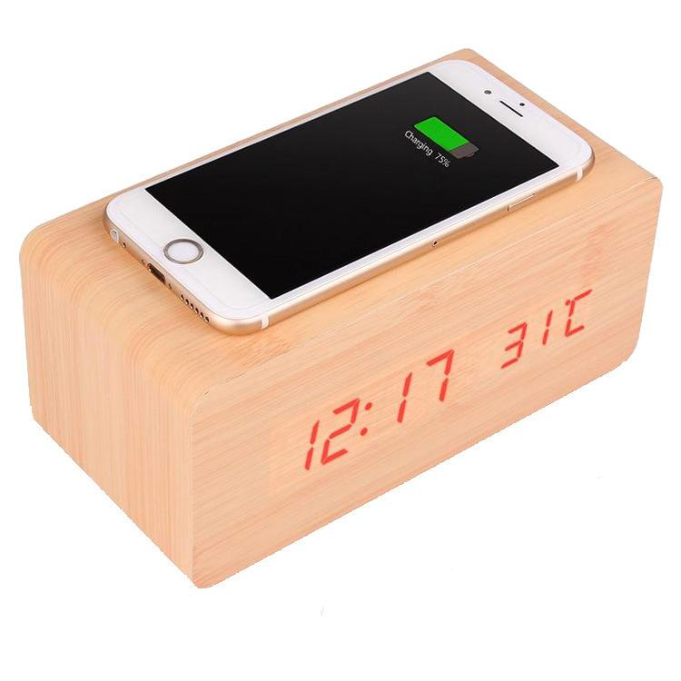 Wooden Alarm Clock with Qi Wireless Charging Pad Compatible with iPhone Samsung Wood LED Digital Clock Sound Control Function, Time Date, Temperature Display for Bedroom Office Home