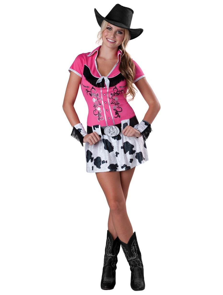 Hobbypos Cowgirl Bling Western Wild West Rodeo Pink Teen Women Costume