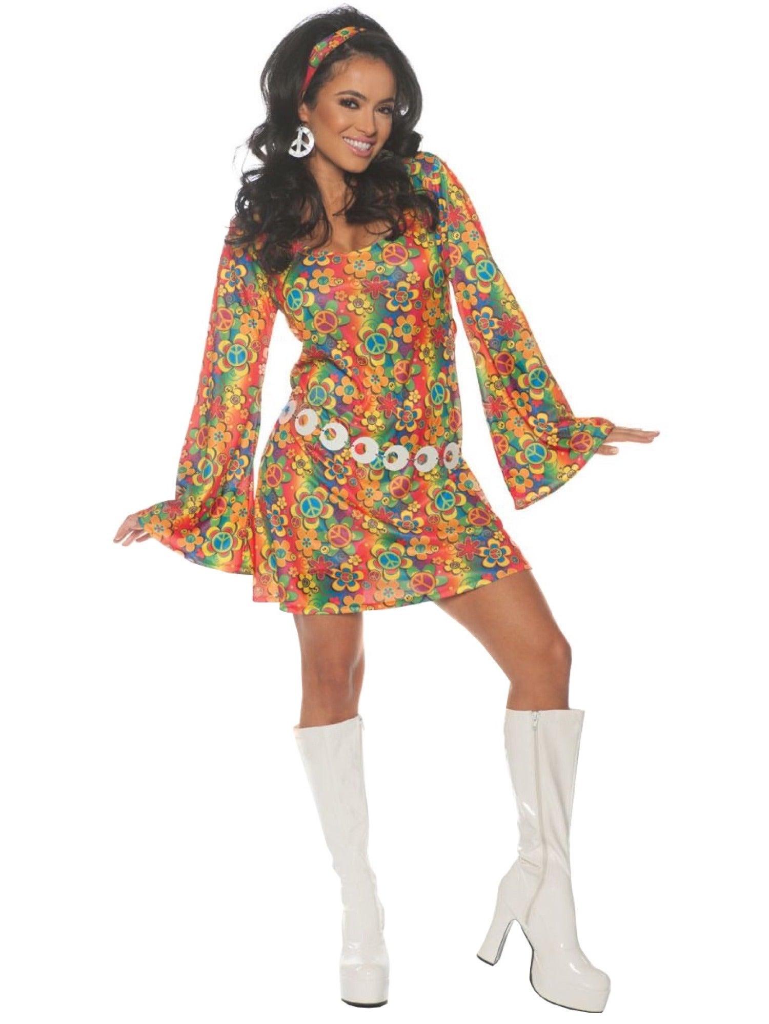 Hobbypos Summer Boogie 1960s Disco Retro Groovy Hippie Hippy Adult Womens Costume