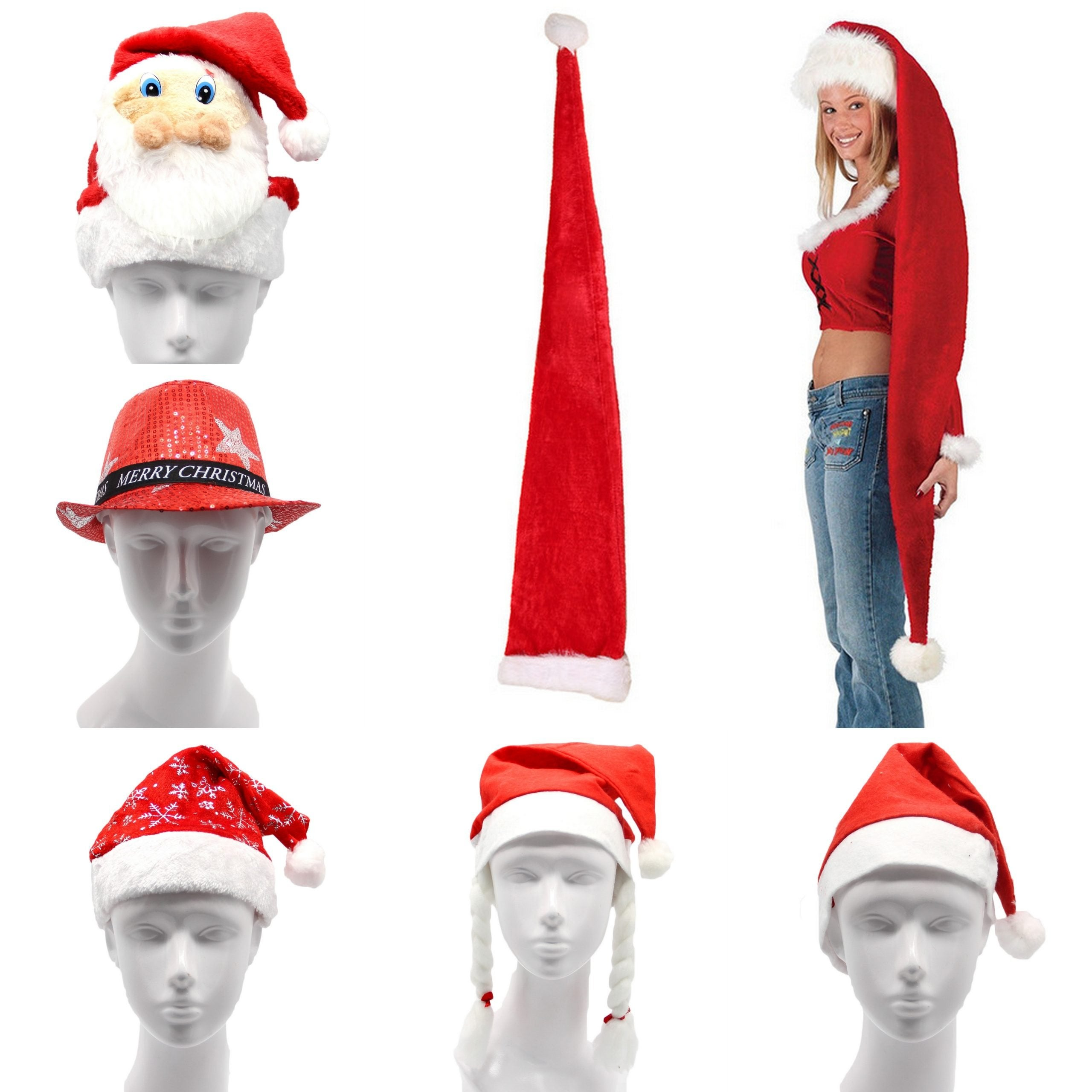 Christmas Unisex Adults Kids Novelty Hat Xmas Party Cap Santa Costume Dress Up