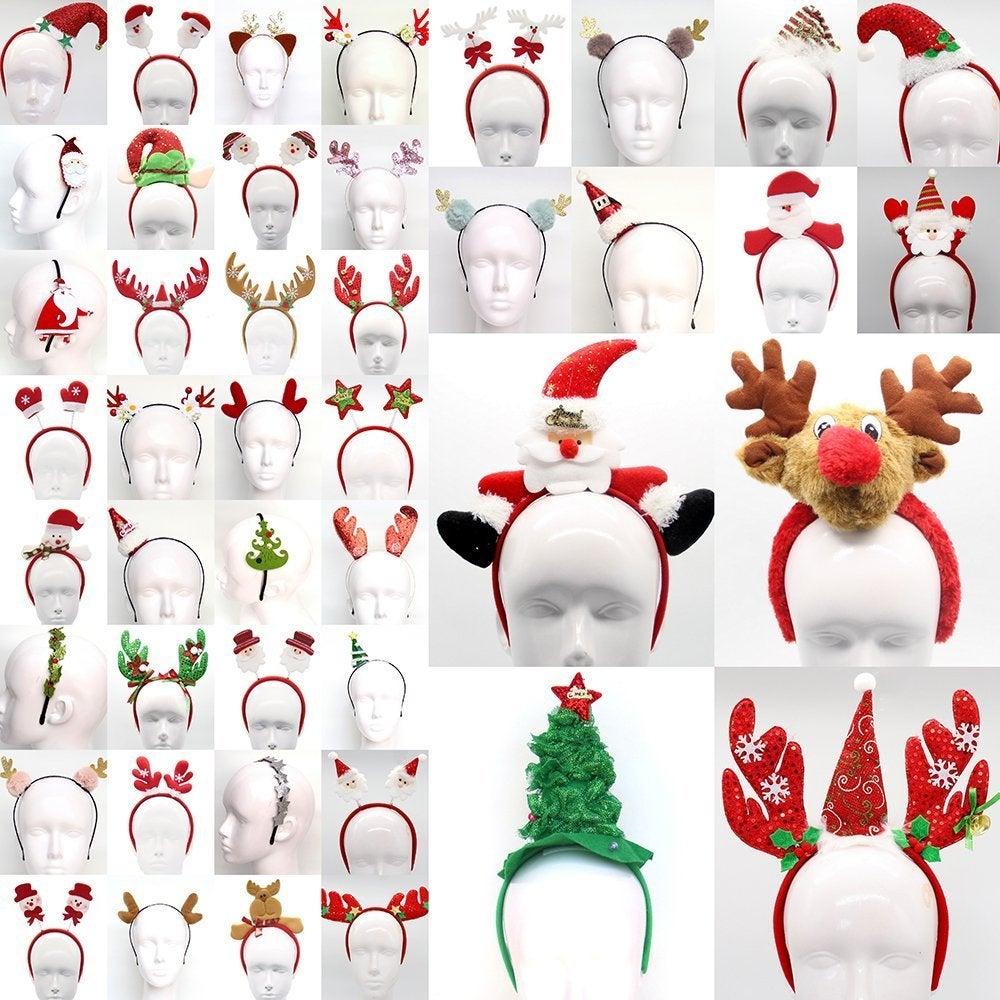 Christmas Xmas Headband Hat Costume Hair Clip Bear Snowman Gift Adult Kids Toys