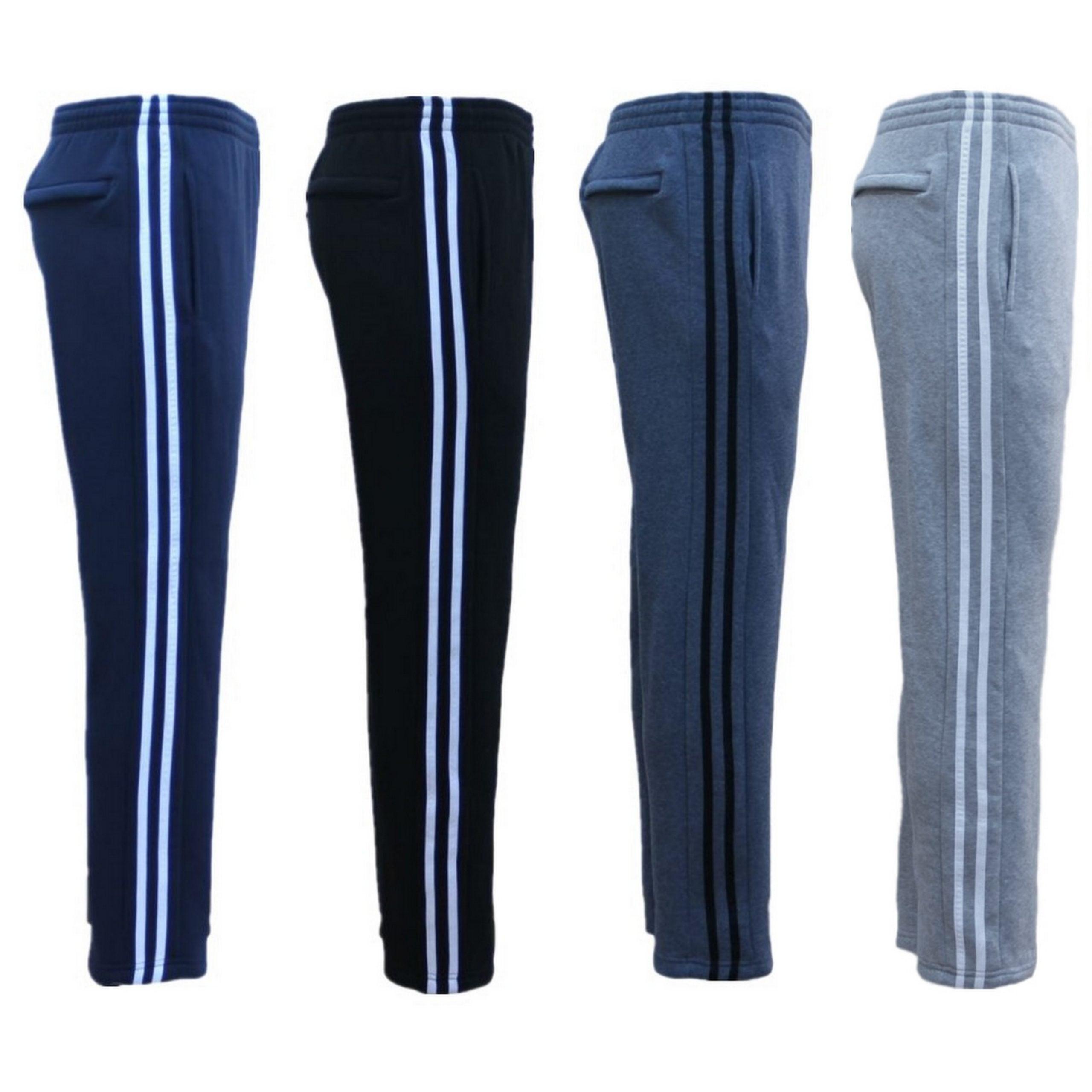 Men's Fleece Casual Sports Track Pants w Zip Pocket Striped Sweat Trousers S-6XL