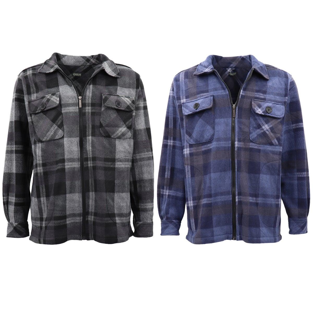 New Mens Long Sleeve Flannelette Shirt Premium Check Flannel Polar Fleece Jacket