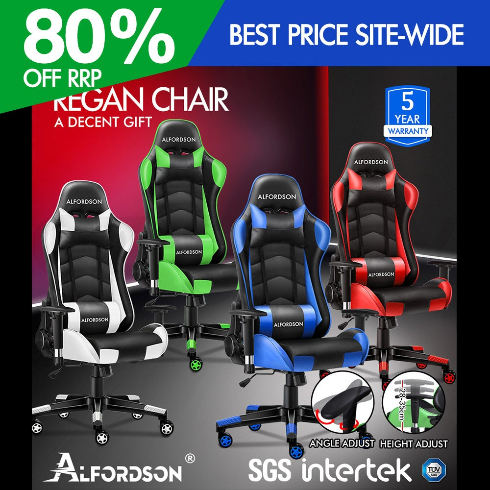 ALFORDSON Gaming Chair Office Executive Racing Seat PU Leather REGAN