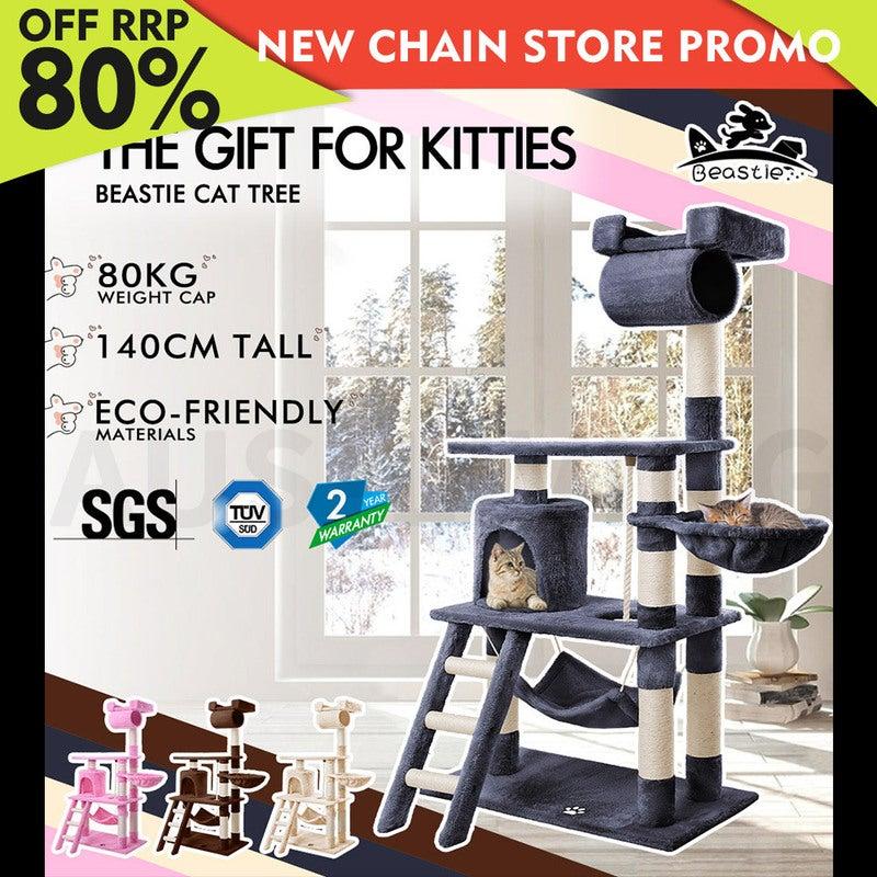 BEASTIE Cat Tree Scratching Post Scratcher Tower Condo House Furniture Wood 140
