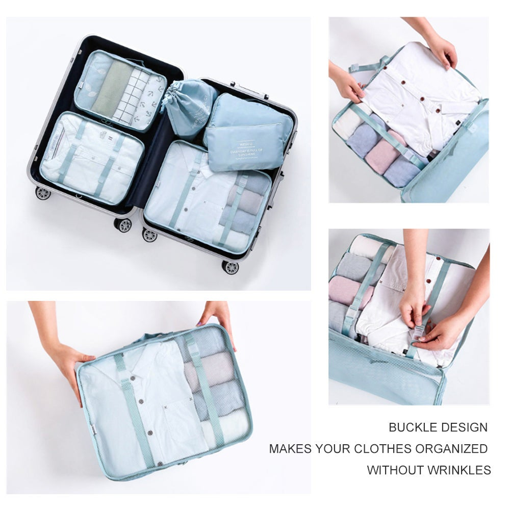 6Pcs Waterproof Compression Packing Cubes Large Travel Luggage Organizer Storage