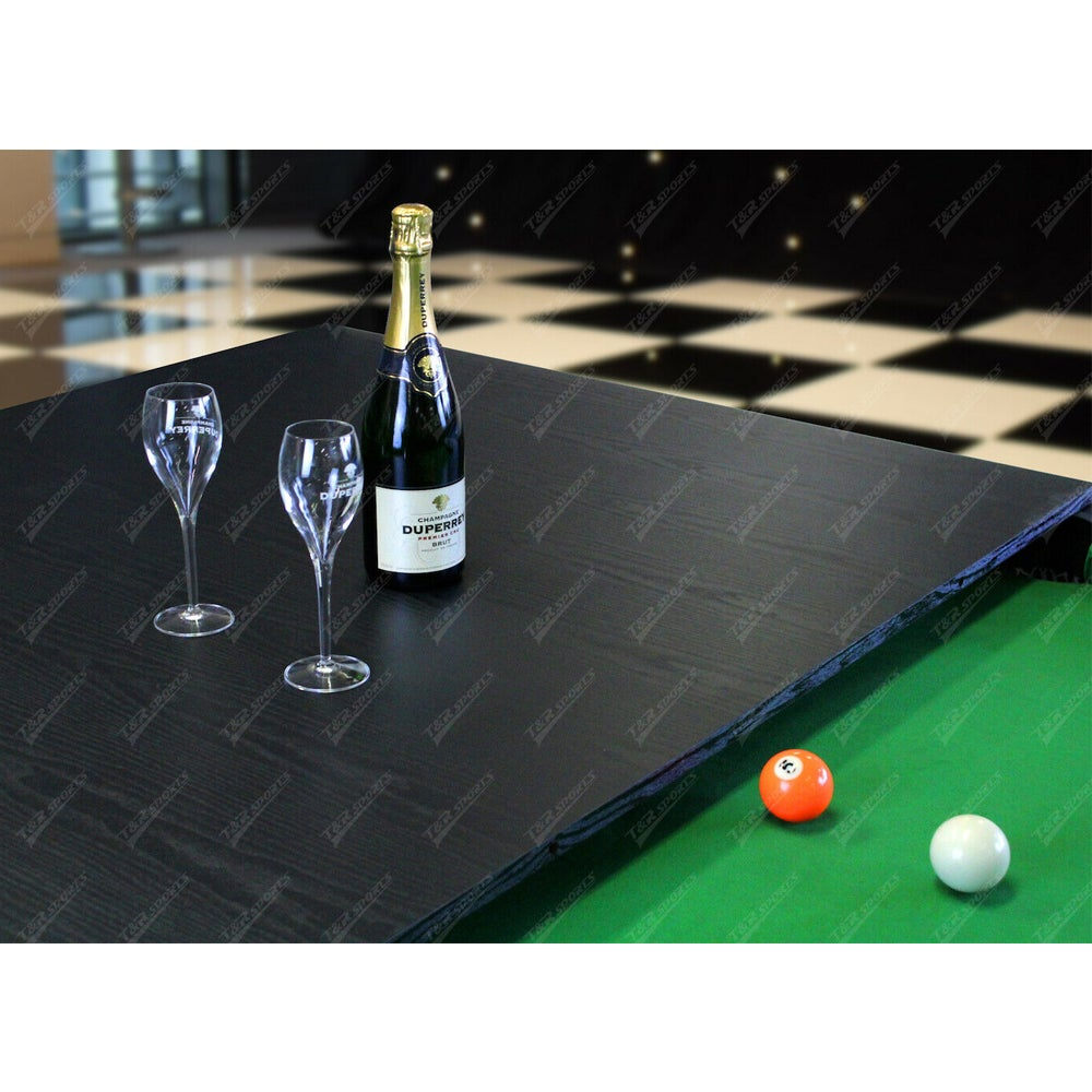 7Ft Elegance Dining Pool Table Walnut/Green with Top Free Accessories