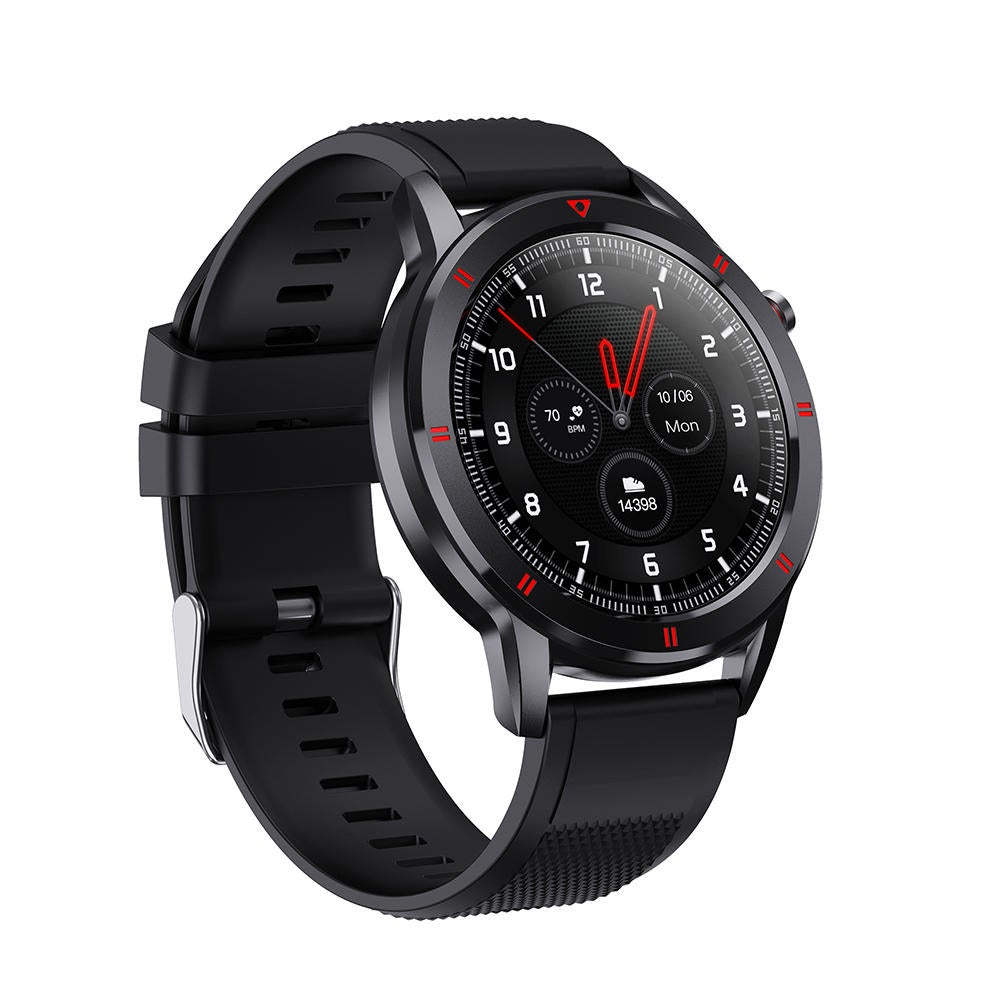 1.28inch Full Round Touch Screen Health Monitor Weather Forecast Music BT4.2 Smart Watch BLACK COLOR