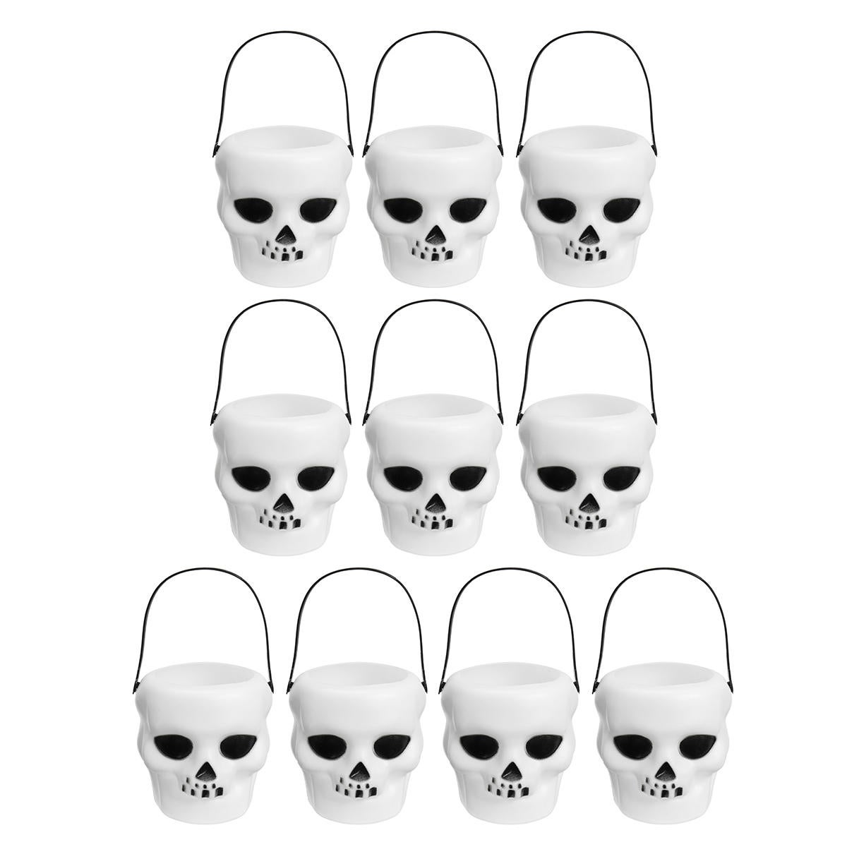 10pcs Halloween Cauldron Witch Skull Multi Purposed Candy Holder Planter Pot Party Decorations 6*5.5 SIZE