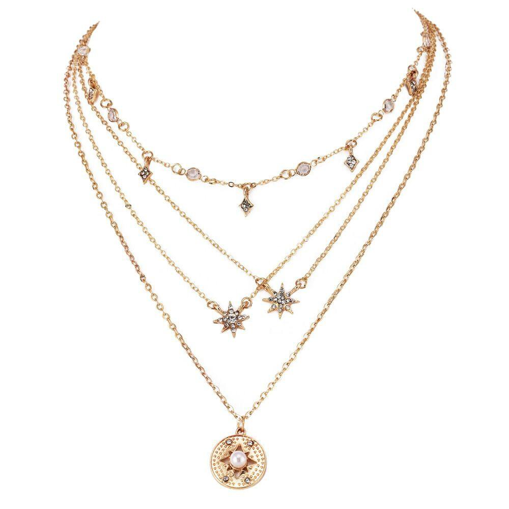 2 Pcs Bohemian Multilayer Necklaces Round Slice Beads Stars Chain Crescent Pendant Necklace For Women