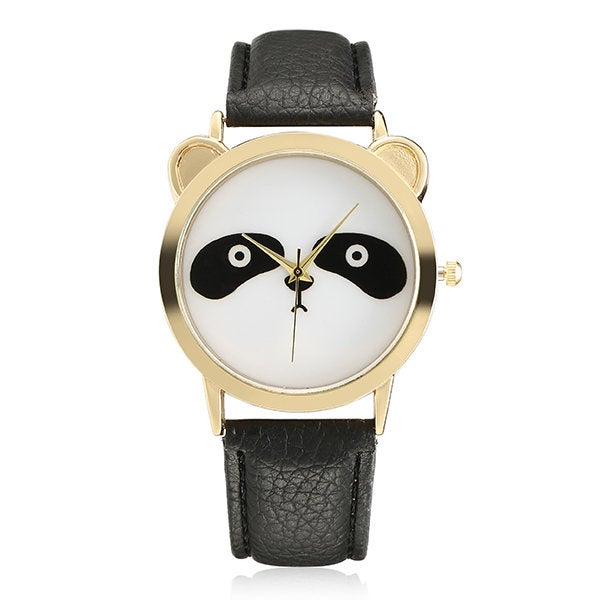 2 Pcs Fashion Panda Unique Women Quartz Watch Leather Women Men Wrist Watch