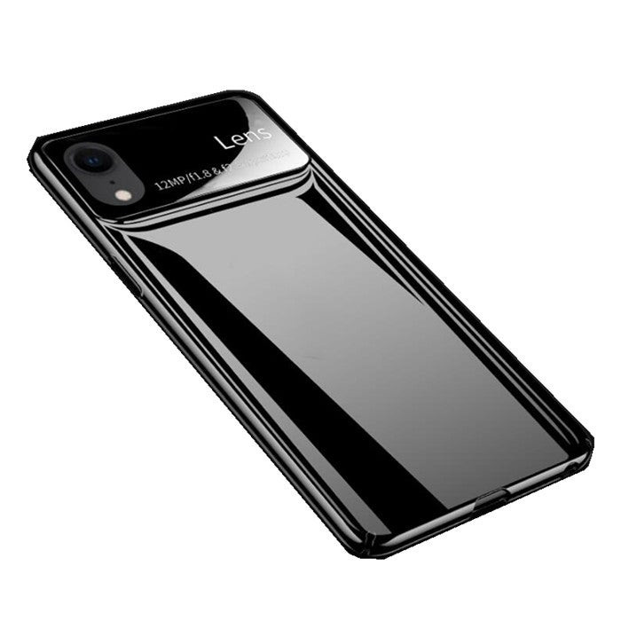 """2 pcs Protective Case for iPhone XS Max 6.5"""" Tempered Glass Lens Protection+PC Glossy Back Cover BLACK COLOR"""
