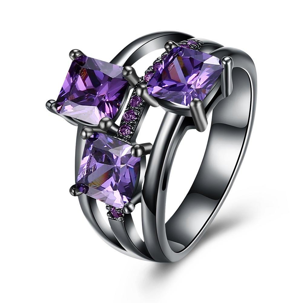 2Pcs Elegant Zircon Rhinestone Diamond Rings Gift for Women