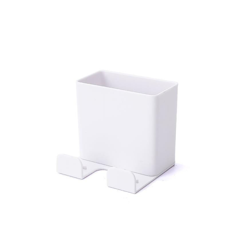 3 pcs Multi-function Mobile Phone Charging Plug Holder Wall Mounted Set-Top-Box Remote Control Parts Storage Box Paste Type TV Air Conditioner Remote Control Box WHITE COLOR