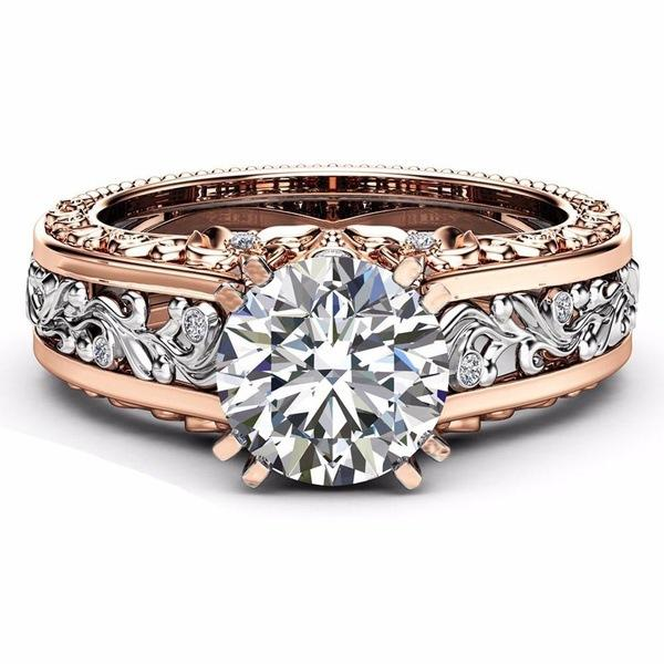 3Pcs Elegant Rose Gold Pattern Hollow Copper Zircon Ring Valentine's Day Gift for Women