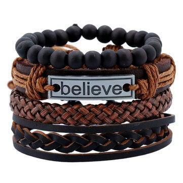 3Pcs Vintage Leather Bracelet Believe Words Charm Multilayer Weave Beaded Bracelet for Men