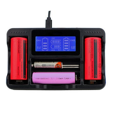 4 Slot Lii AA AAA Ni-MH Lithium Smart LCD 18650 22650 26650 18650 18350 14500 Rechargeable Battery Charger