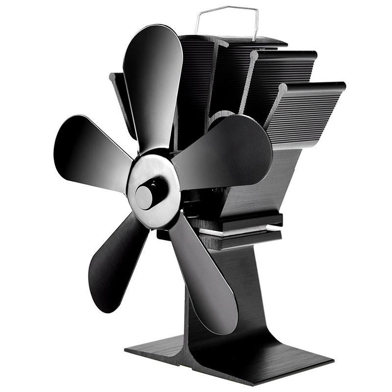 5 Blades Fireplace Fan Wood Burner Stove Thermal Heat Power Fan