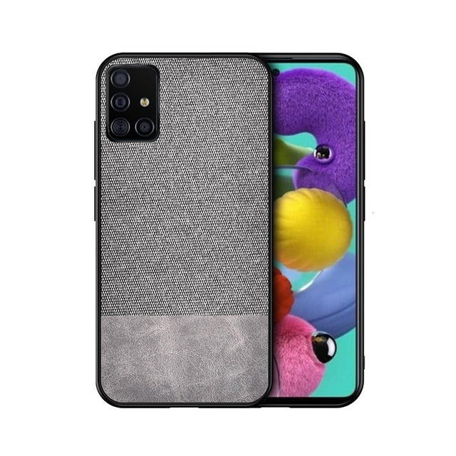 Anti-fingerprint Cotton Cloth PU Leather Protective Case for Samsung Galaxy A51 2019 GRAY COLOR
