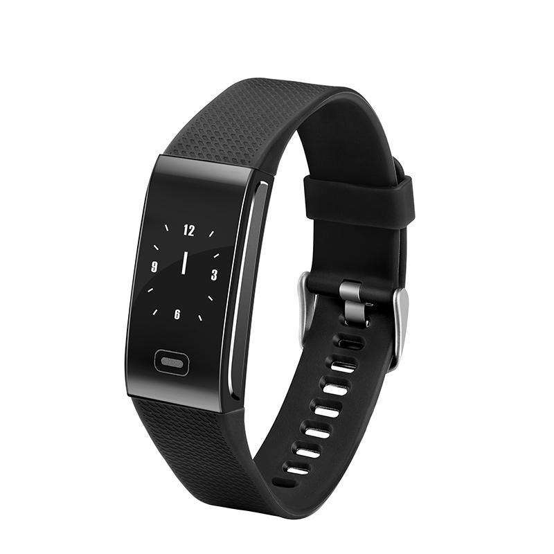 "CK18 0.96"" IPS Color Touch Screen IP67 Waterproof Smart Bracelet Pedometer Heart Rate Blood Pressure Monitor Fitness Smart Watch BLACK COLOR"