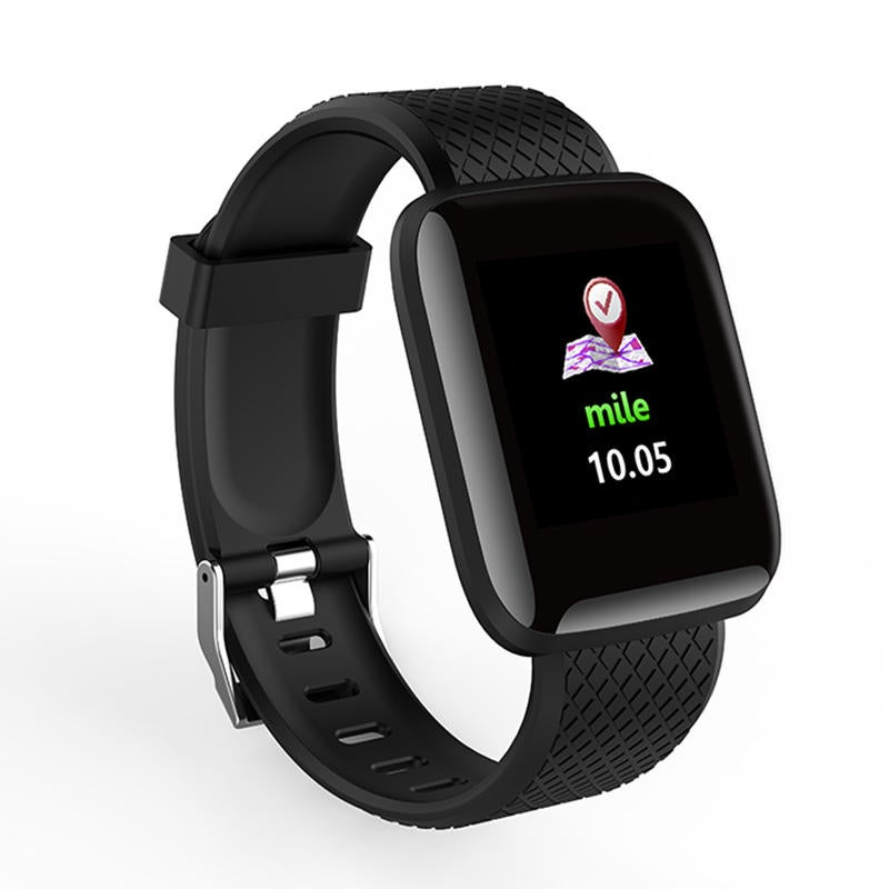 D13 1.3 Inch Color Screen Touch Wristband HR Blood Pressure Monitor Visible Message Show Smart Watch BLACK COLOR