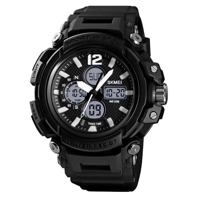 Luminous 5ATM 3Time Multi-Function Outdoor Men Watch Dual Display Digital Watch