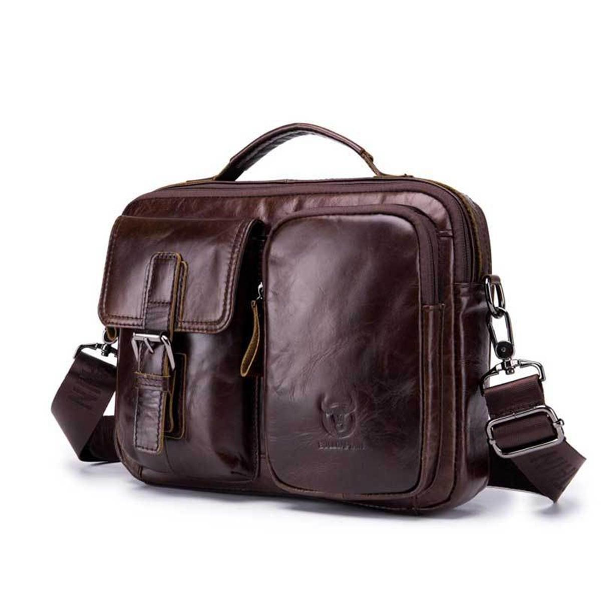 Men Genuine Leather Briefcase Shoulder Bag Business Travel Messenger Crossbody Laptop Handbag BROWN COLOR