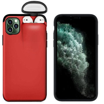Multifunction Creative 2 in 1 Anti-scratch Shockproof Matte PC Protective Case for iPhone 11 Pro Max 6.5 inch RED COLOR