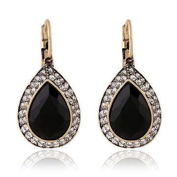 Retro Black Crystal Earring Long Style Rhinestone Ear Drop Earring For Women Jewelry
