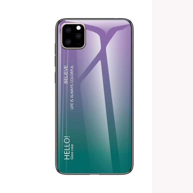 Scratch Resistant Gradient Tempered Glass Protective Case for iPhone 11 Pro Max 6.5 inch PURPLE GREEN COLOR