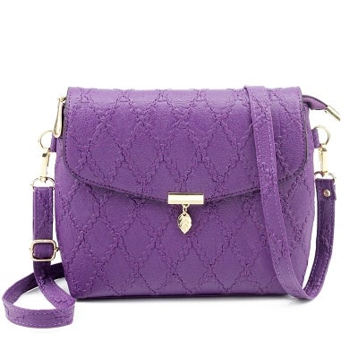Small Handbags Women Leather Shoulder Mini Crossbody Bag Long Strap Clutch(Purple)