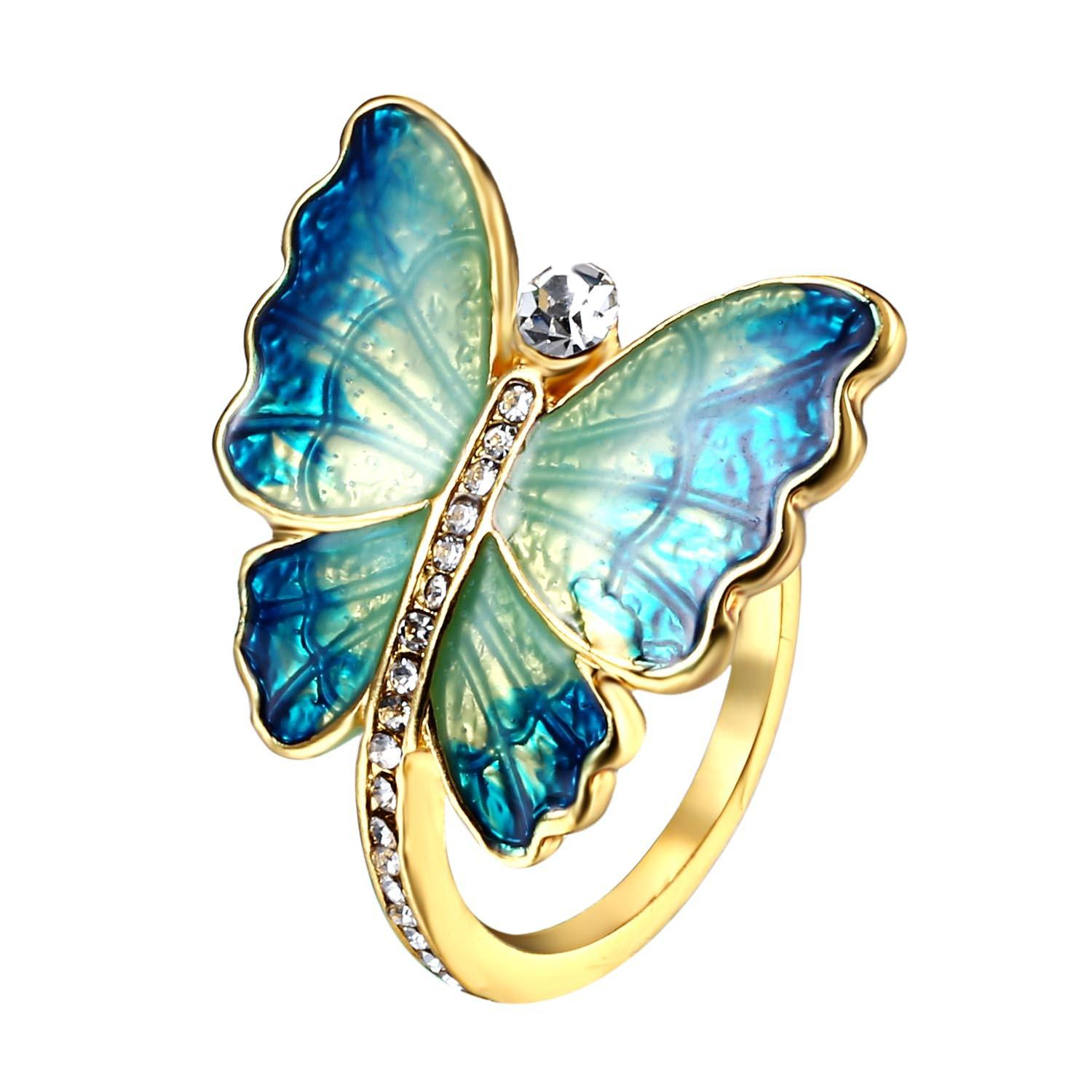 Sweet Enamel Butterfly Finger Ring Trendy Insect Diamond Personality Rings Gift for Women RI17Y012M1 COLOR