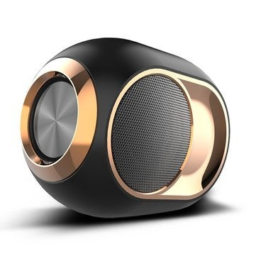 Wireless bluetooth Speaker Portable Heavy bass Stereo Surround Sound FM Radio TF Card AUX Speaker with Mic BLACK COLOR