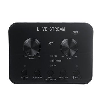 X7 Live Sound Card Microphone 20 Functions Voice Changer for Mobile Phone PC Computer Broadcast