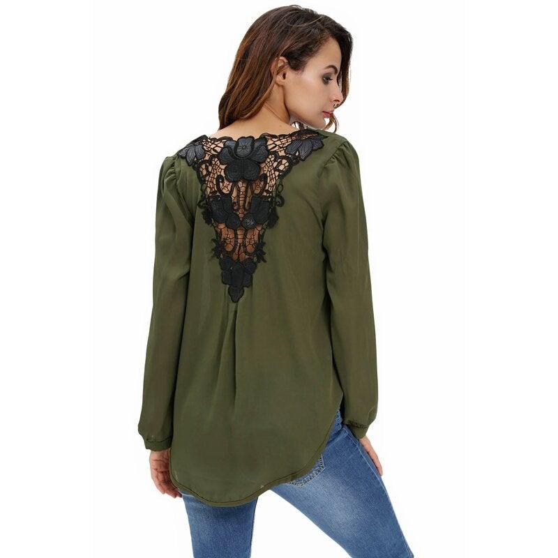 Azura Exchange Stylish Army Green Crochet Back Wrap Front Blouse