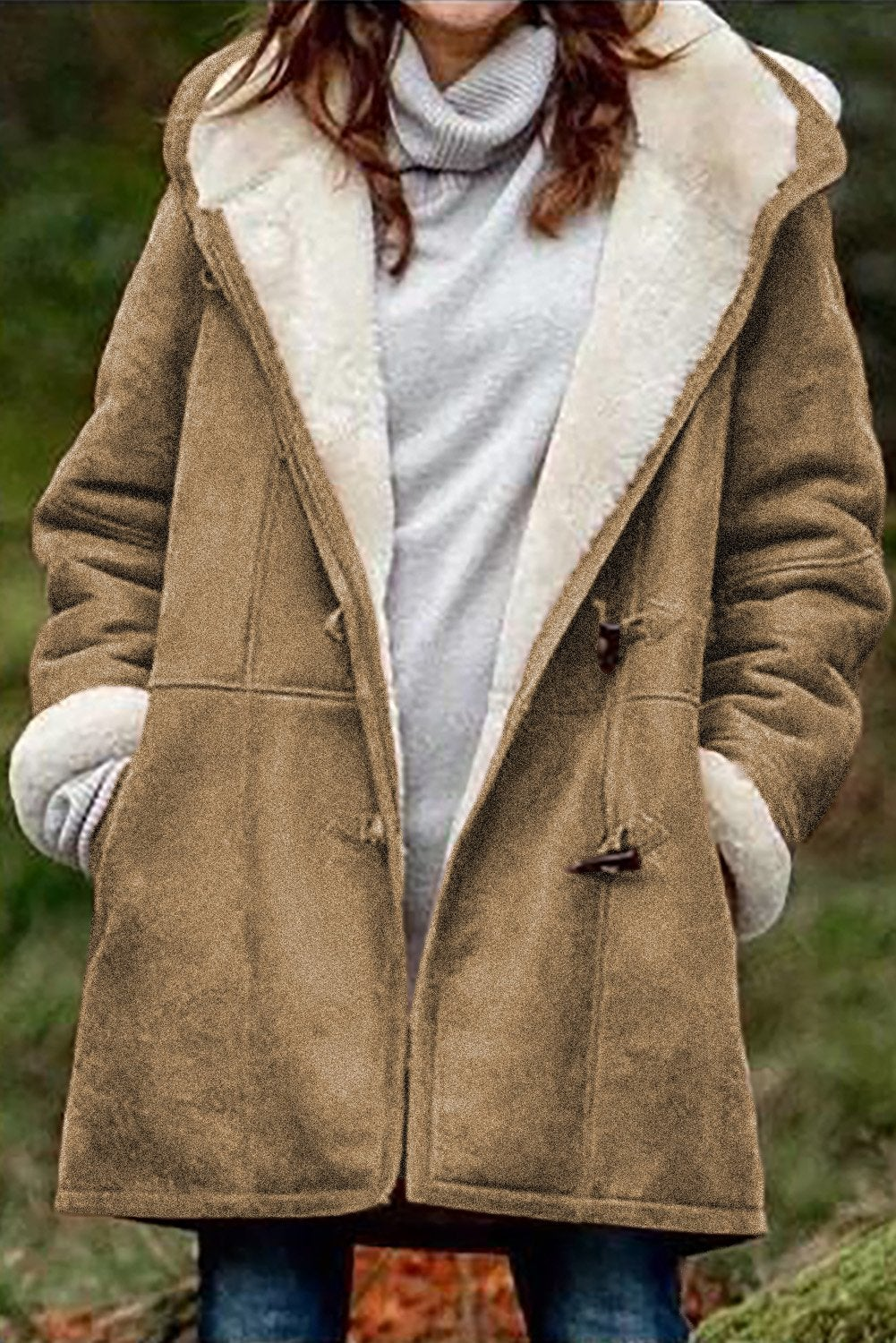 Azura Exchange Brown Long Sleeve Hooded Buttons Pockets Duffle Coat