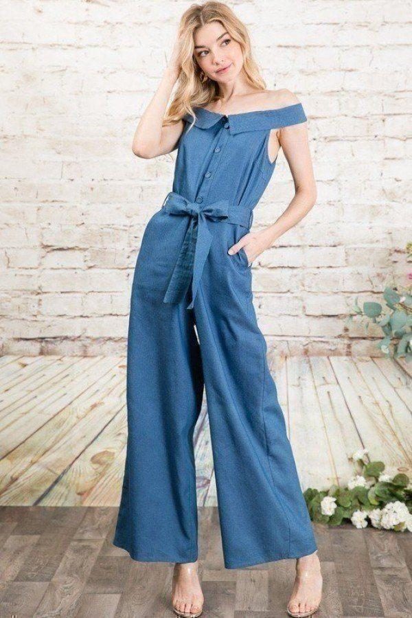 Azura Exchange Fold-over Collar Detailed Button Down Off-shoulder Chambray Denim Wide Leg Palazzo Jumpsuit With Waist T
