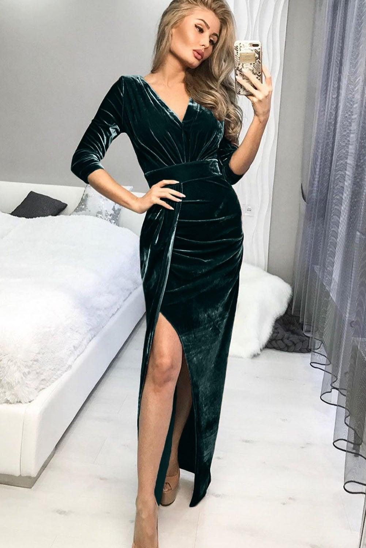Azura Exchange Green Deep V Neck Ruched Side Slit Party Velvet Dress