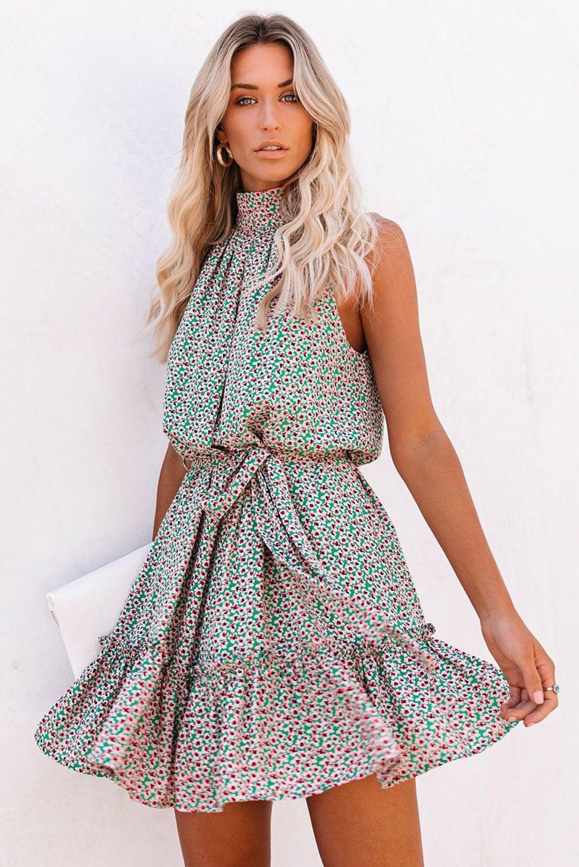 Azura Exchange Green Halter Sleeveless Floral Mini Dress