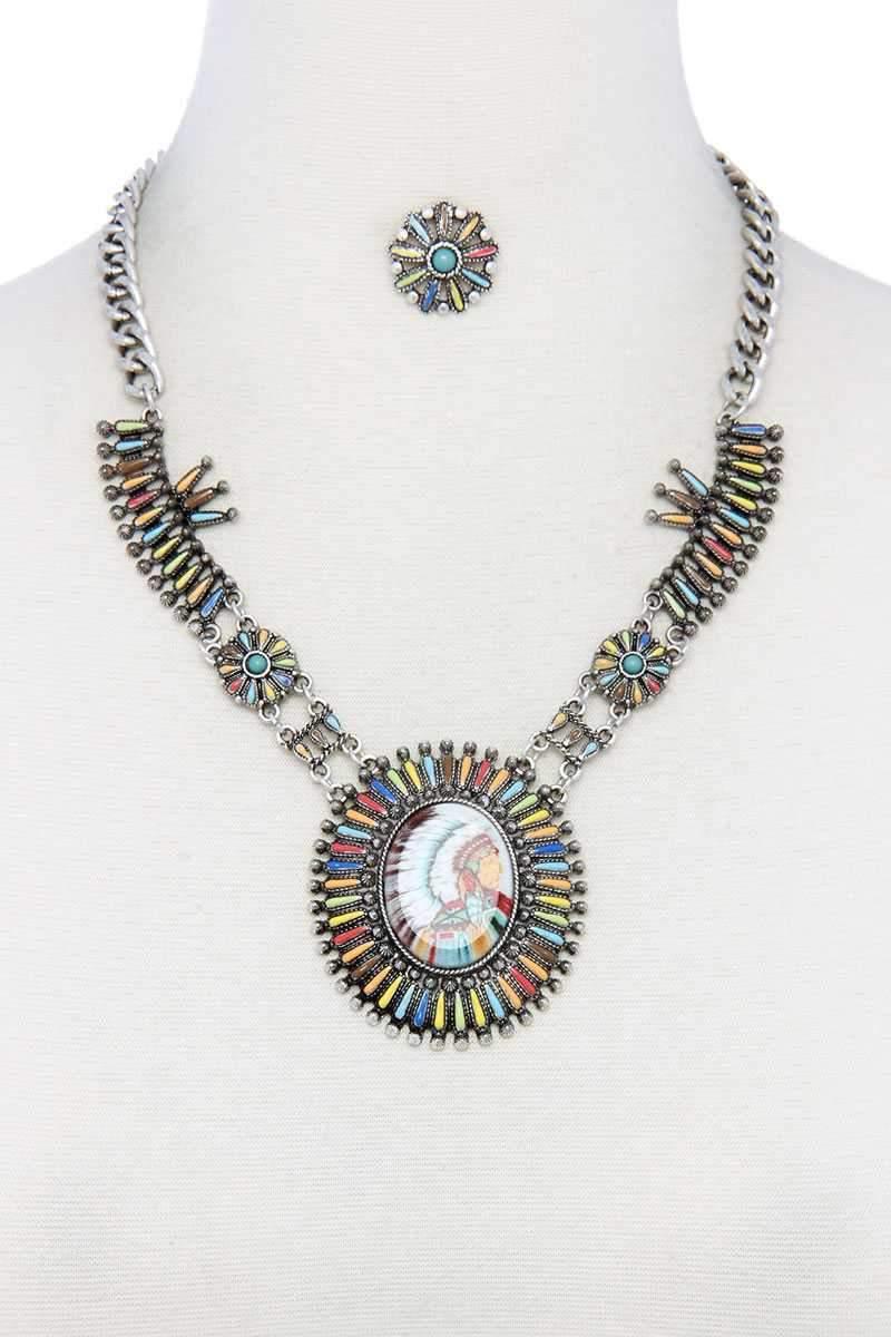 Azura Exchange Multi Color Indigenous Pendant Necklace