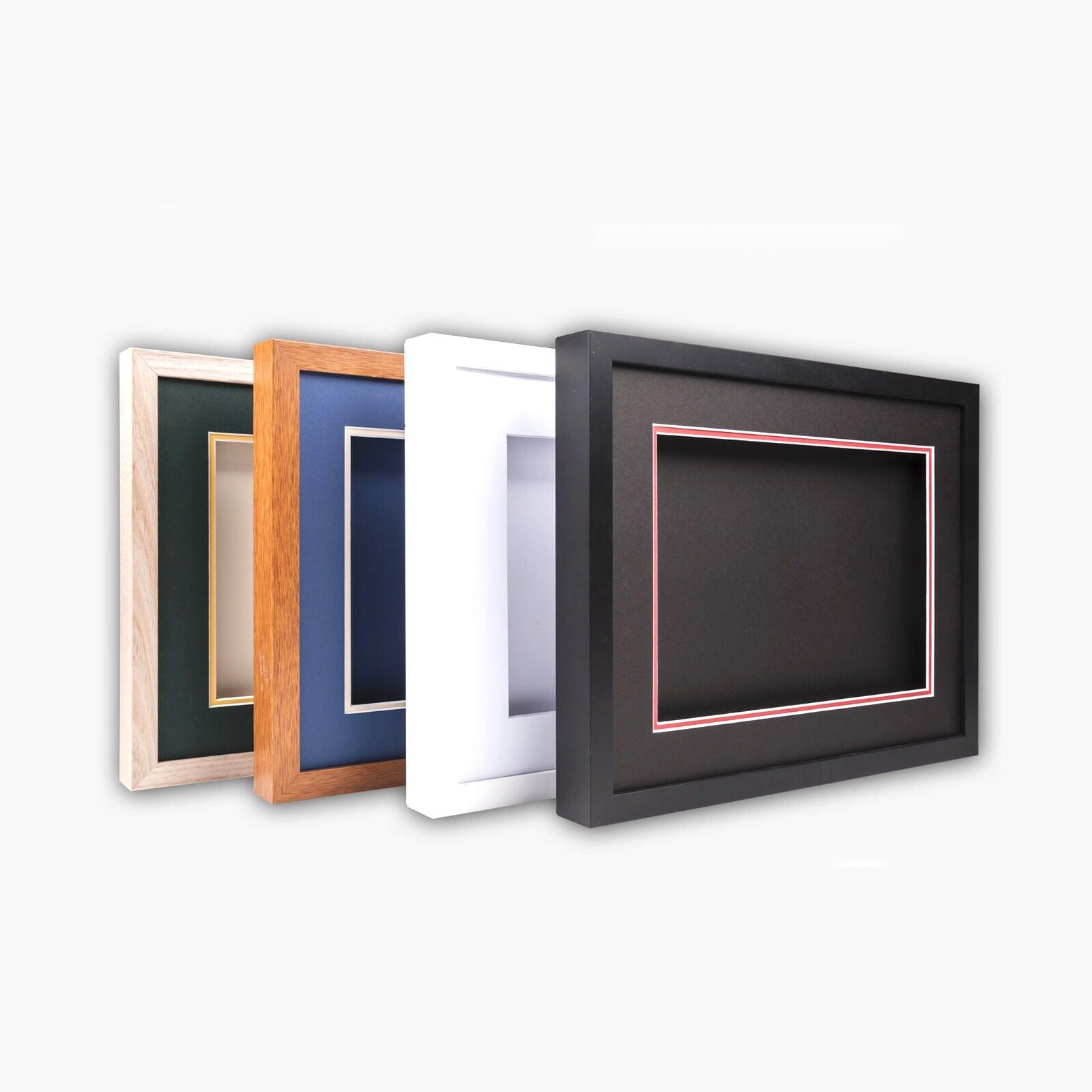 "3-D, Deep shadow box frame, 8x10"", 10x13"" size, Oak, White, Black, Teak,with top"